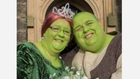 Couple Paint Themselves Green for Shrek Wedding